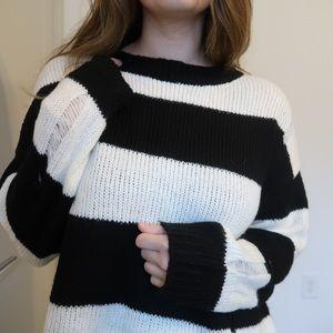 Sweaters - Oversized striped sweater